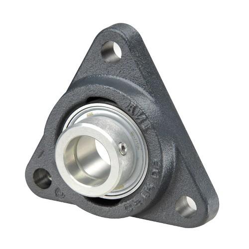 Paliers auto-aligneurs PCFTR50  paliers appliques à 3 trous de fixation, fonte, bague de blocage excentrée, étanchéité P