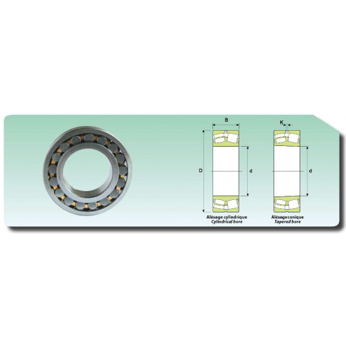 Roulement à rotule sur rouleaux alésage cylindrique 22211 MBW33 (cage massive et rainure de graissage)