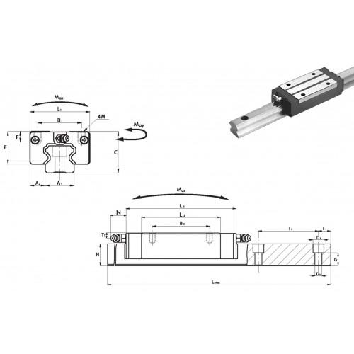 Chariot RLC 45 P0 N (sans précharge, précision normale)