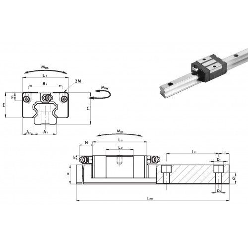Chariot RSC 20 P0 N (sans précharge, précision normale)