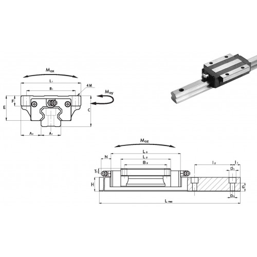 Chariot SLA 35 P2 H (précharge moyenne, précision haute)