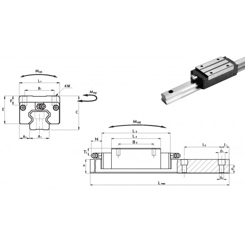 Chariot SLC 30 P0 N (sans précharge, précision normale)
