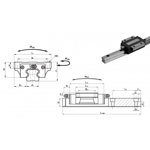 Chariot SNA 35 P0 N (sans précharge, précision normale)