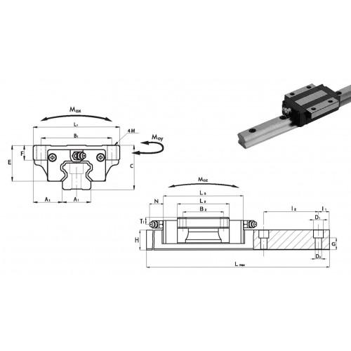 Chariot SNA 45 P0 N (sans précharge, précision normale)