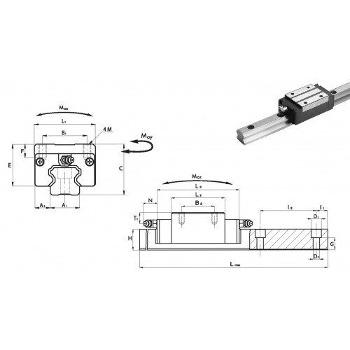 Chariot SNC 45 P2 N (sans précharge, précision normale)