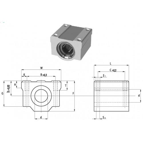 Palier à billes aluminium SC 20 UU AS  (étanches des deux côtés et trou de graissage)