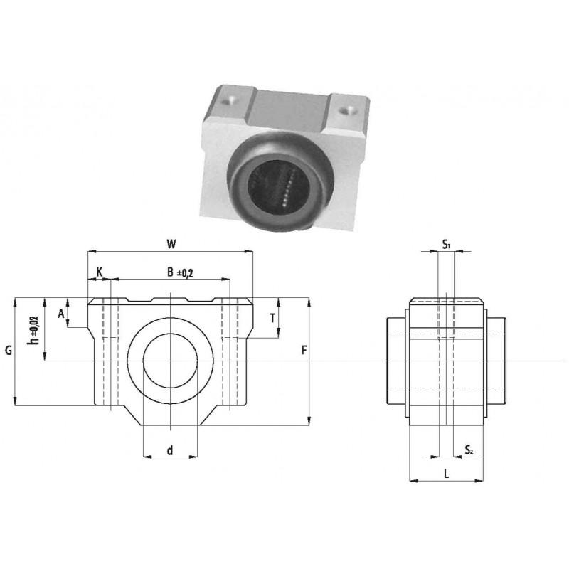 Palier à billes aluminium SCV 08 UU (étanches des deux côtés)
