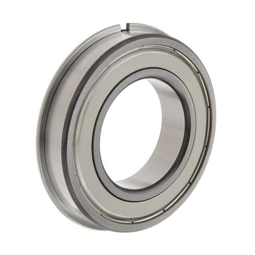 Roulement rigides à billes 6312 ZNR à une rangée (Flasque en tôle d'acier emboutie d'un côté du roulement, bague extér