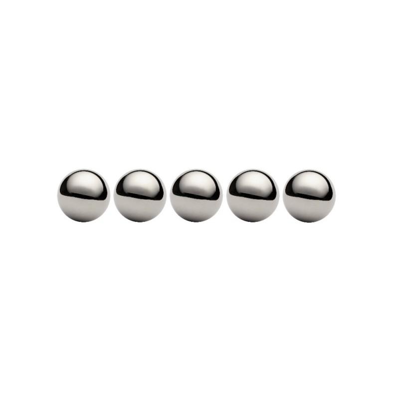 Lot de 5 billes diamètre  31,75 mm en acier au chrome 100 C6 Grade 100