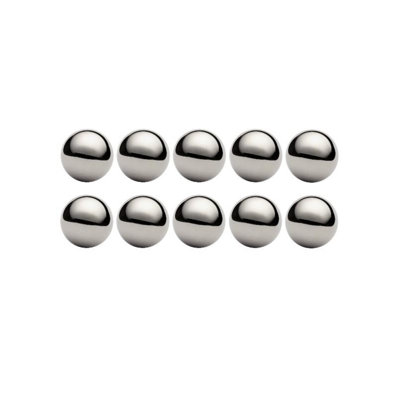 Lot de 10 billes diamètre  19,05 mm en acier inox AISI 316 Grade 100